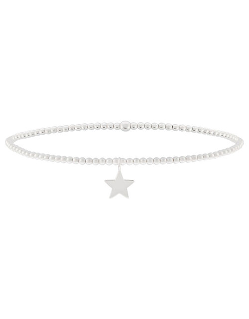 Sterling Silver Star Charm Stretch Bracelet, , large