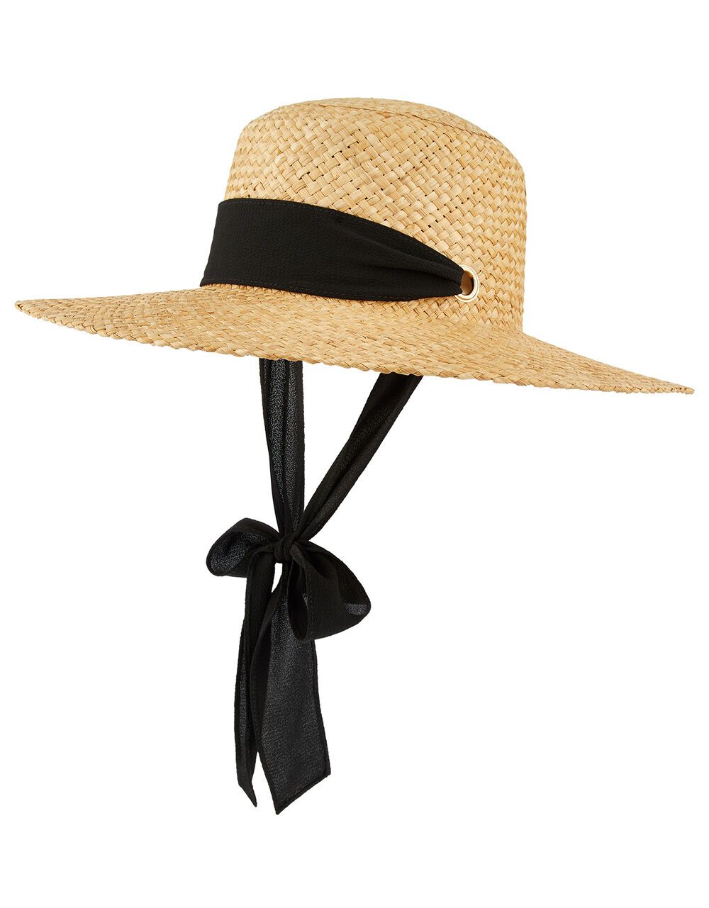 Straw Boater with Chiffon Tie, , large