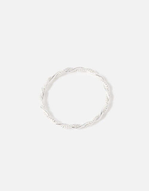 Sterling Silver Twisted Rope Ring, Silver (ST SILVER), large