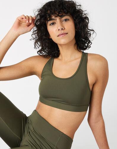 Multi-Strap Yoga Crop Top Green, Green (KHAKI), large