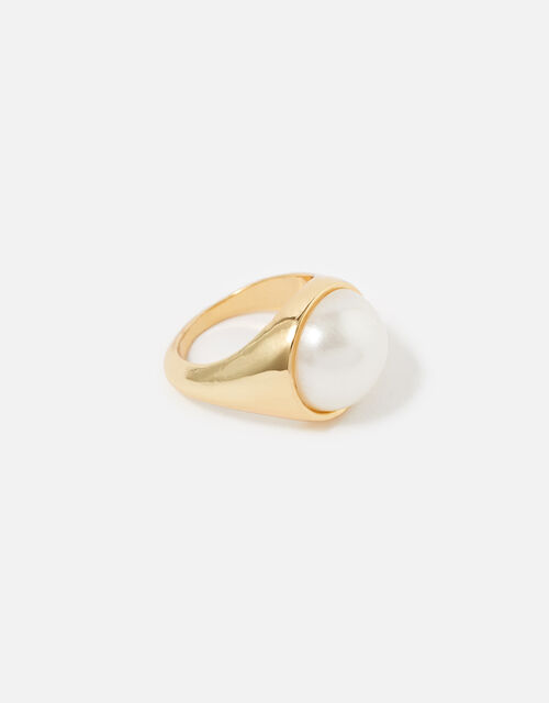 Reconnected Chubby Pearly Ring, White (CRYSTAL), large