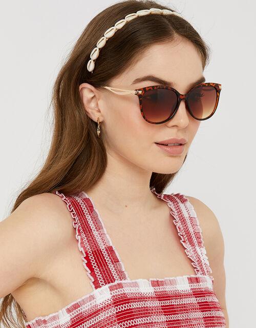 Leopard Print Metal Arm Sunglasses, , large