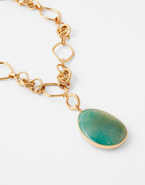 Stone Pendant Collar Necklace, , large