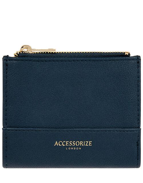 Bella Double Zip Wallet, Blue (NAVY), large