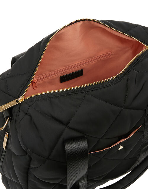 Becca Quilted Duffle Bag, Black (BLACK), large