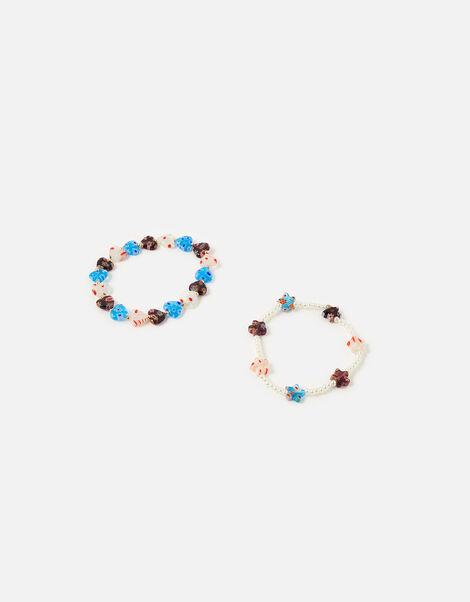 Flower Beaded Stretch Bracelets, , large