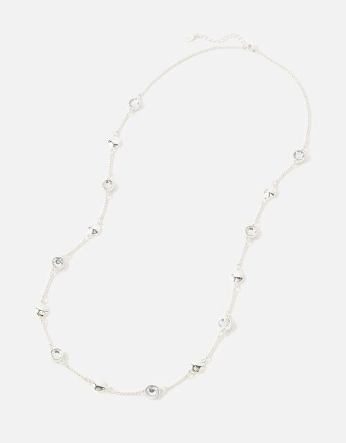 Berry Blush Gem Station Necklace, White (CRYSTAL), large