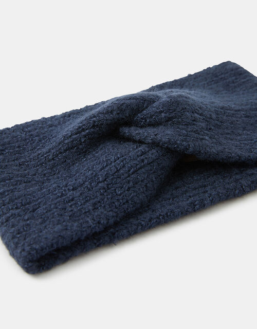 Knit Bando Headband, Blue (NAVY), large