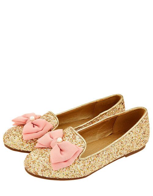 Chiffon Bow Glittery Ballet Flats, Gold (GOLD), large