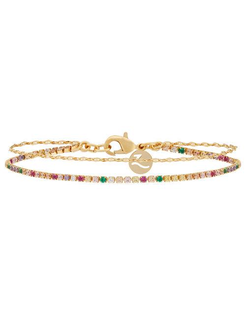 Gold-Plated Rainbow Layered Bracelet, , large