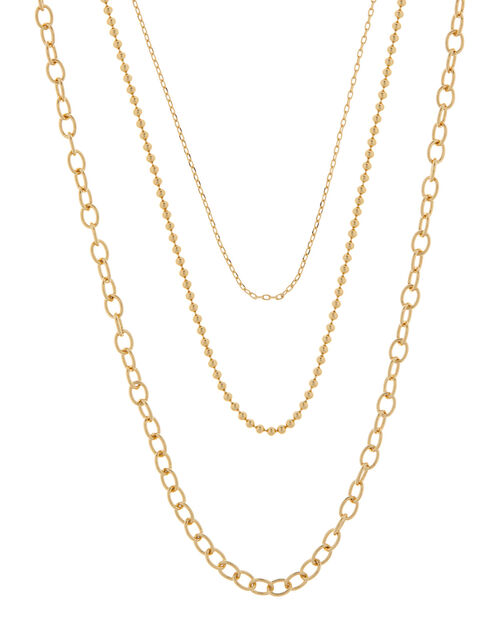 Gold-Plated Layered Chain Necklace, , large