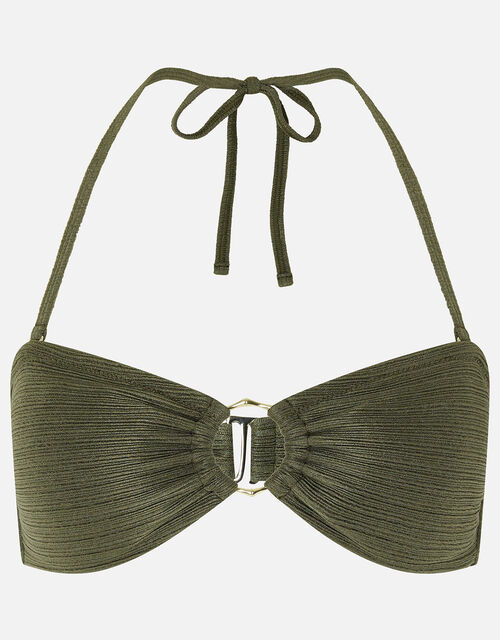 Ring Detail Bandeau Bikini Top, Green (KHAKI), large