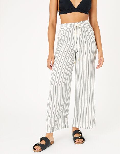 Textured Stripe Beach Trousers Black, Black (BLACK/WHITE), large