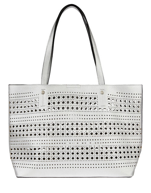 Perforated Shopper with Detachable Zip Pouch, Silver (SILVER), large