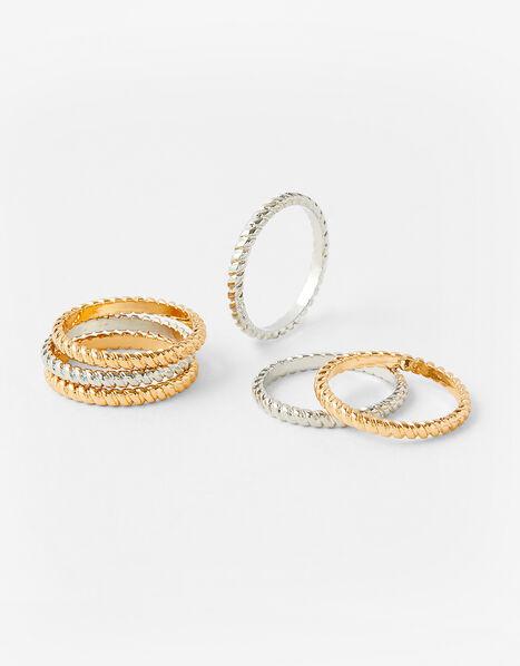 Textured Stacking Ring Set Metalic, Metalic (METALLICS), large