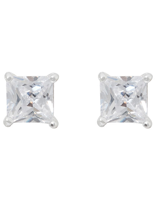 Sterling Silver Princess Cut Solitaire Earrings, , large