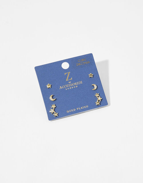 Gold-Plated Celestial Stud Earring Set, , large