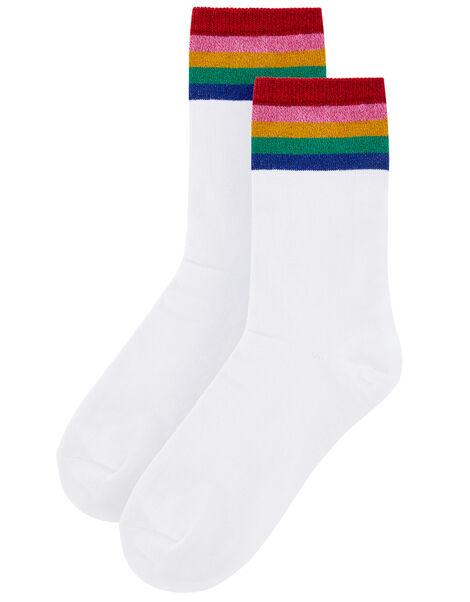 Rainbow Sparkle Sports Socks, , large