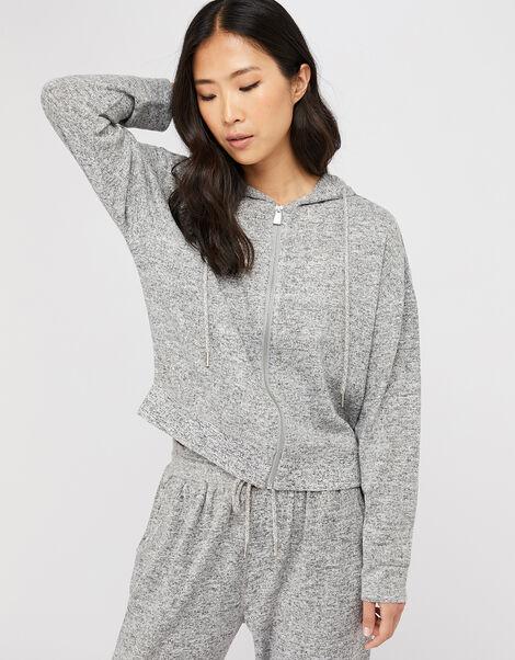 Grey Marl Zip Hoody Grey, Grey (GREY), large
