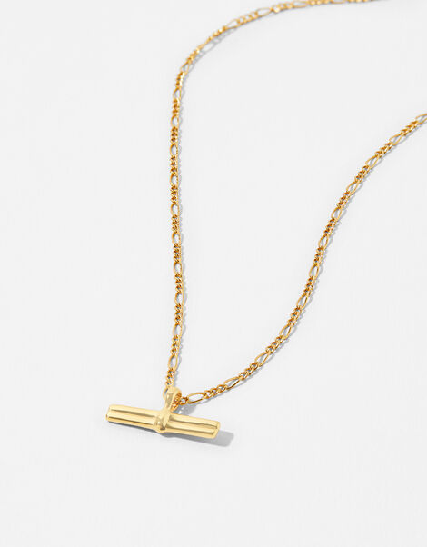 Gold-Plated T-Bar Pendant Necklace, , large