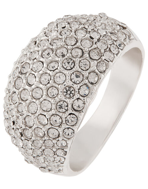 Chunky Pave Ring, White (CRYSTAL), large