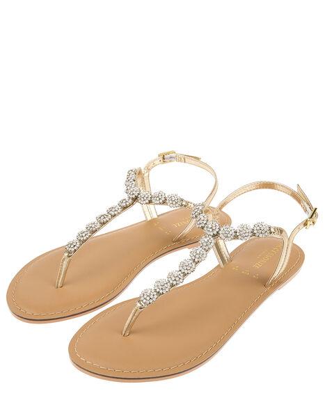 Santorini Crystal Sandals Gold, Gold (GOLD), large