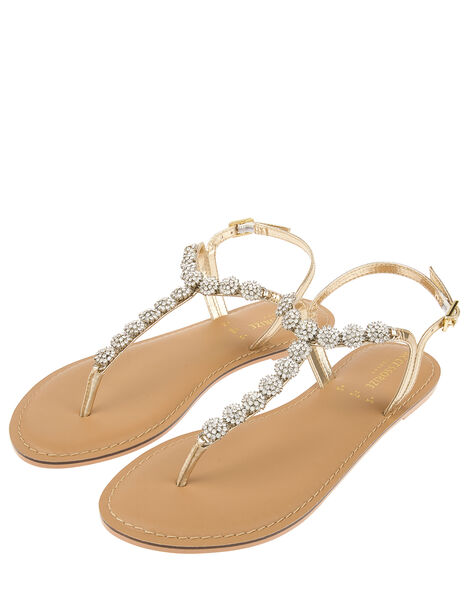 Santorini Crystal Sandals Gold, Gold (GOLD), large
