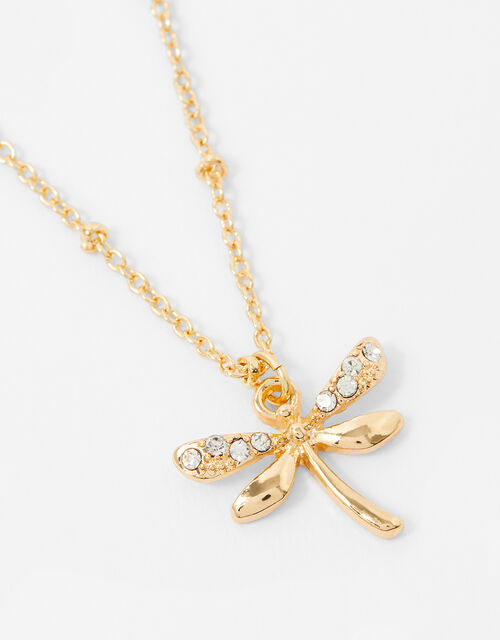 Sparkle Dragonfly Pendant Necklace, , large