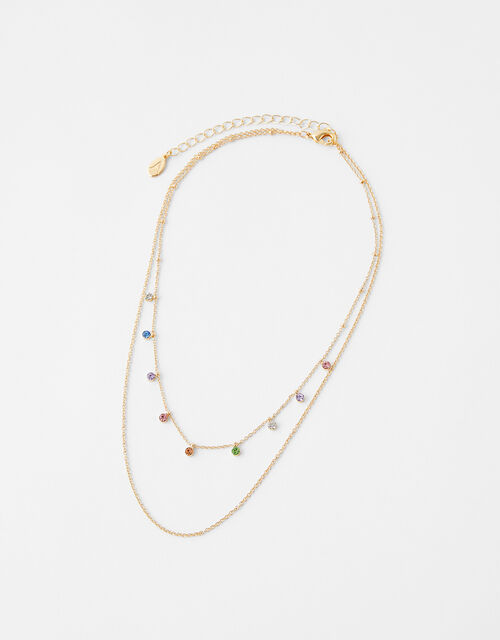 Ombre Gem Dainty Layered Necklace, , large