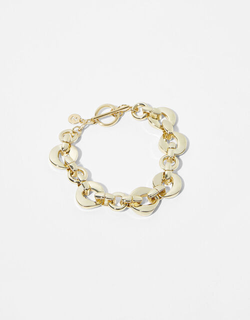 Gold-Plated Oval Chunky Chain Bracelet, , large