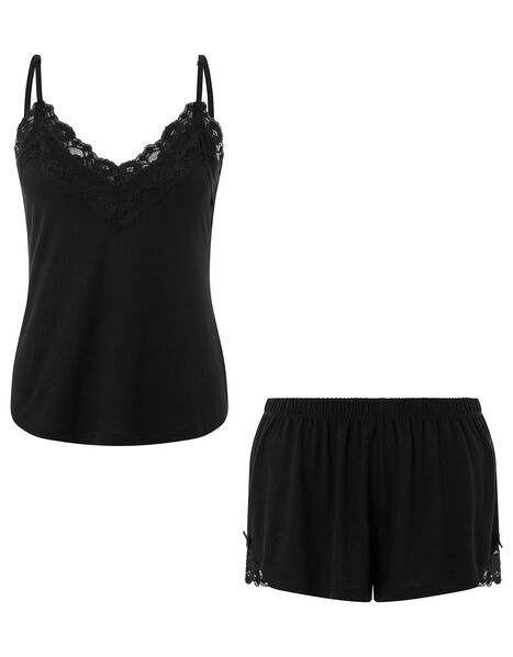 Teya Pyjama Vest and Shorts Set Black, Black (BLACK), large