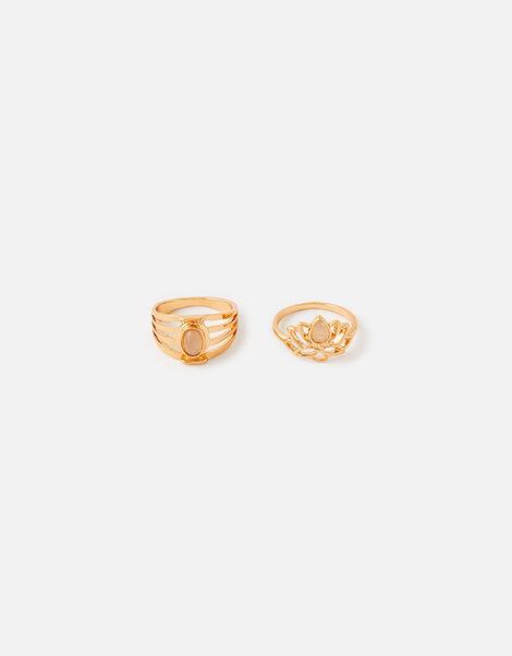 Lotus and Stone Ring Set Pink, Pink (PINK), large