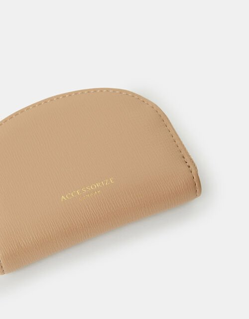 Crescent Zip Coin Purse, Brown (TAUPE), large