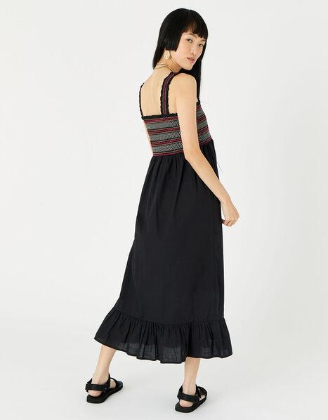 Smocked Midi Dress Black, Black (BLACK), large