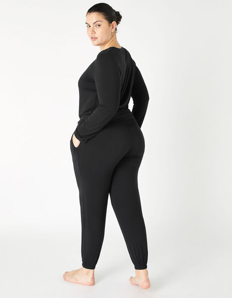 Full-Length Jersey Lounge Set Black, Black (BLACK), large