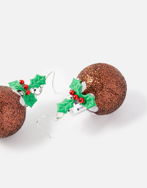 Christmas Pudding Bauble Earrings , , large
