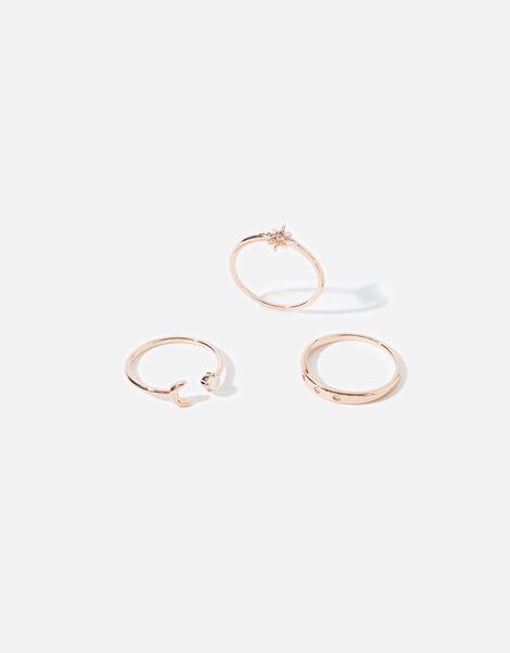 Rose Gold-Plated Celestial Ring Set Gold, Gold (ROSE GOLD), large
