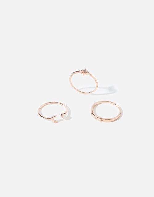 Rose Gold-Plated Celestial Ring Set, Gold (ROSE GOLD), large