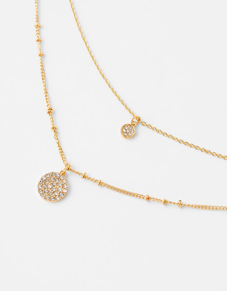 Pave Disc Multirow Necklace, , large