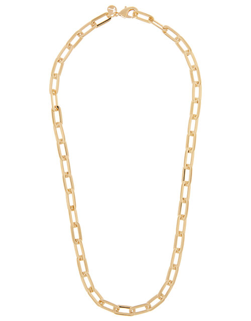 Gold-Plated Large Link Chain Necklace, , large