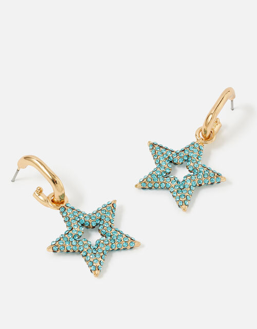 Feel Good Chubby Star Pave Hoops, , large