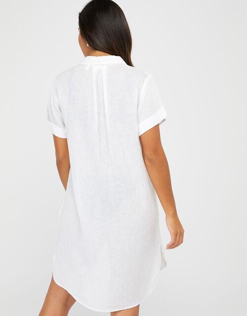 Beach Shirt Dress in LENZING™ ECOVERO™, White (WHITE), large