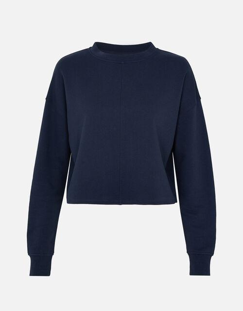 LOUNGE Crop Sweatshirt in Organic Cotton , Blue (NAVY), large