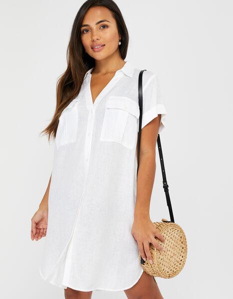 Beach Shirt Dress in LENZING™ ECOVERO™ White, White (WHITE), large