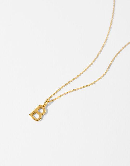 Gold Vermeil Initial Pendant Necklace - B, , large