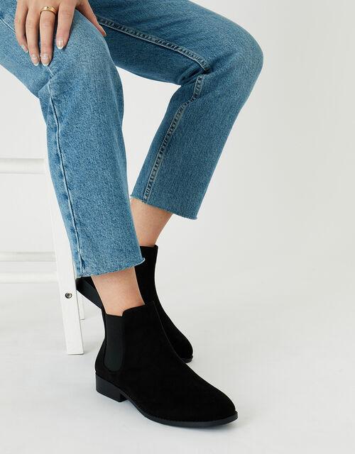 Suedette Chelsea Boots, Black (BLACK), large