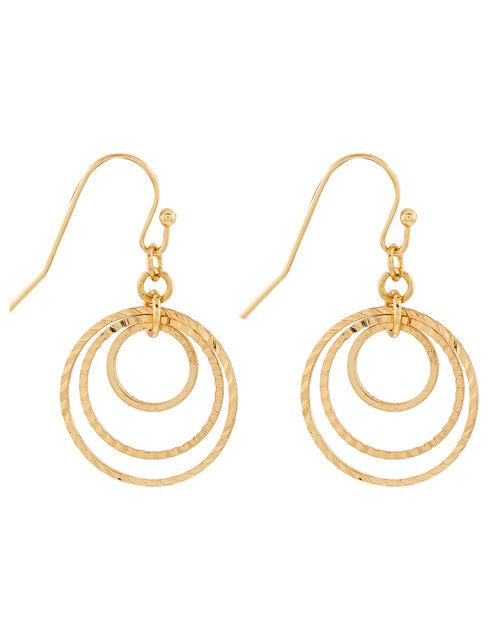 Triple Circle Short Drop Earrings, , large