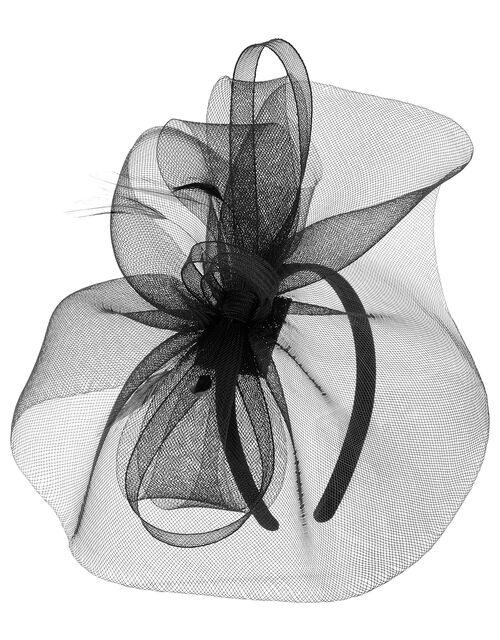Mia Oversized Bow Fascinator, Black (BLACK), large