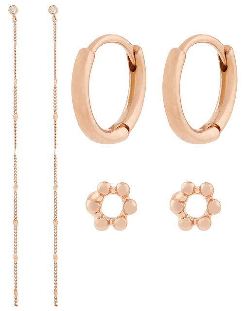 Rose Gold-Plated Curated Earring Set, , large