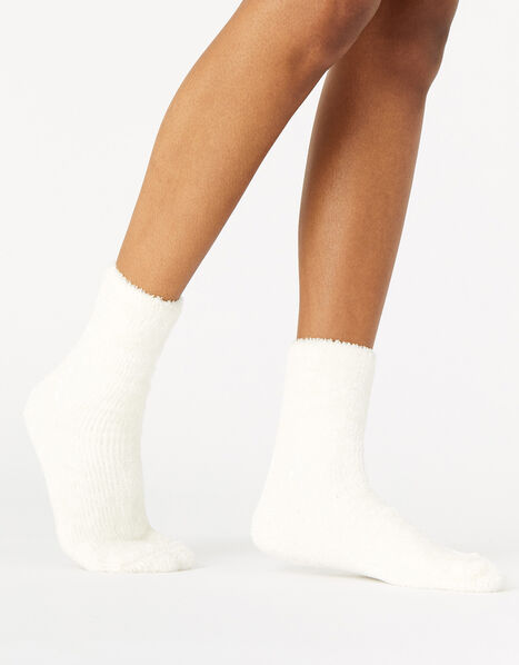 Fluffy Chenille Cosy Ankle Socks Cream, Cream (CREAM), large